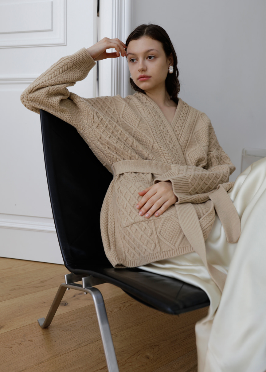 "19FW Cable Shawl ""Y"" cardigan"